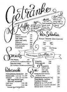 Café im Süden - Getränkekarte