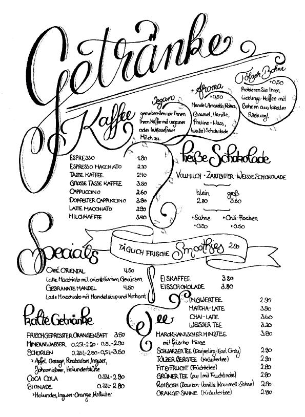 Cafe Bohne Speisekarte