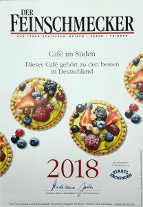 Urkunde - Der Feinschmecker - Das Cafe im Süden gehört zu den besten Cafes in Deutschland